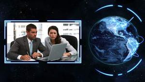 Earth turning on its axis longside videos of business people at work with earth image courtesy of Na