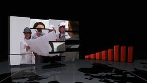 Videos showing business people while charts are displayed with Earth image courtesy of Nasa.org