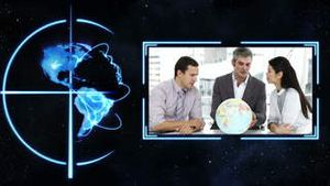 A video appears showing three people with a globe with Earth image courtesy of Nasa.org