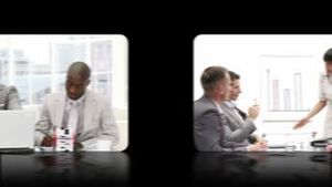 Hand sliding through a montage of videos showing business people