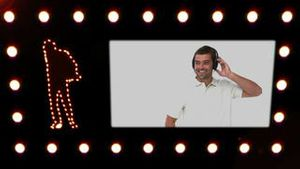 Silhouette of a man dancing while a video appears showing people listening to headphones