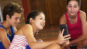 High school kids using mobile phone