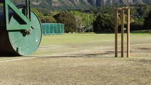 Cricket roller used to prepare pitch at cricket ground