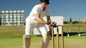Wicket keeper collecting cricket ball behind stumps during match