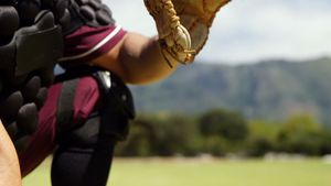 Baseball catcher during practice session