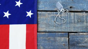 American flag and dog tag on a wooden table