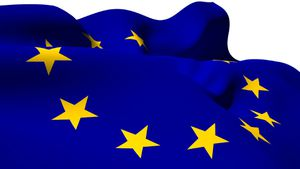 Close-up of europe flag waving