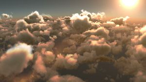 Smoky clouds and bright sun