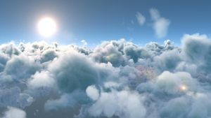 White fluffy clouds and bright sun