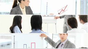 montage of people giving presentations