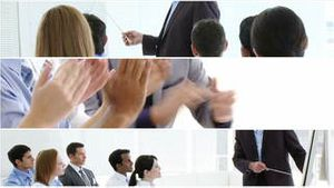 Businesss people giving presentations