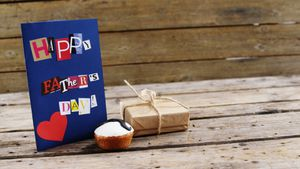 Fathers day card on table
