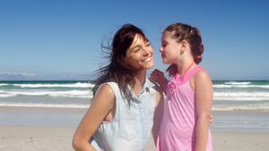 Affectionate daughter kissing her mother at beach