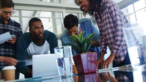 Executives working in office