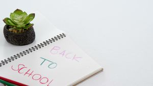 Back to school text on open diary with colored pencils and sapling plant