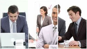 Multiple hd shots of an office environment dominated by men