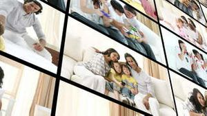 Montage of family at home
