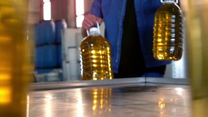 Olive oil can being kept on table in oil factory