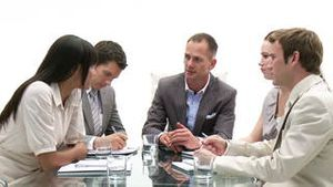 Multiethnic business people in a meeting