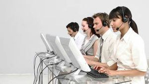 Multiethnic business people working in a call center