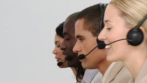 Team of people at work in a call centre