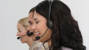Business people working hard in a call centre