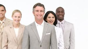 Multiethnic business team standing
