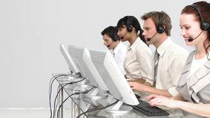 Concentrated people working in a call centre