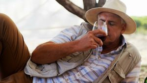 Man having glass of wine in cottage 4k