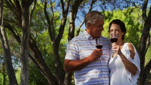 Smiling couple toasting a glass of red wine 4k