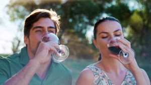 Couple toasting glass of wine on a sunny day 4k