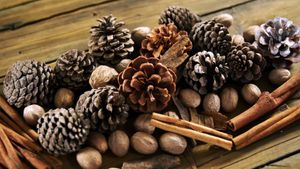Pine cones and cinnamon sticks on wooden table 4k