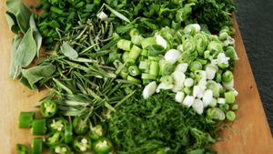 Various herbs on a chopping board 4k