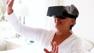 Senior woman using virtual reality headset 4k