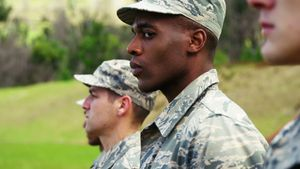 Group of military soldiers standing in line 4k