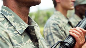 Group of military soldiers standing with rifles 4k