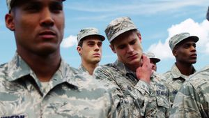 Military soldiers standing in boot camp 4k