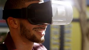 Man using virtual reality headset 4K 4k