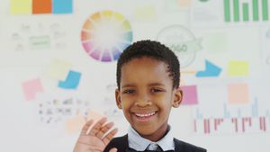 Kid as business executive gesturing in office 4k