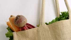 Fresh vegetables in grocery bag 4k