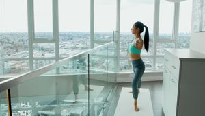 Woman performing stretching exercise at home 4k
