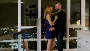 Couple romancing in living room 4k