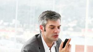 Furious businessman on phone