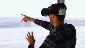 Man using virtual reality headset 4k