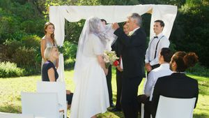 Father of the bride lifting the veil 4K 4k