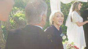 Bride parents are happy about marriage talking with each other 4K 4k