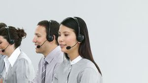 Successful business team working in a call center