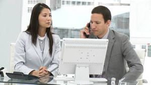 Two young businesspeople working at a computer