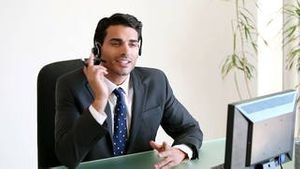 Call centre agent using a headset