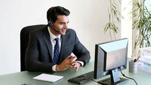 Businessman talking on his headset